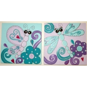 Artwork Childrens Room Decor - Flutterby Set Kids Wall Art Canvas